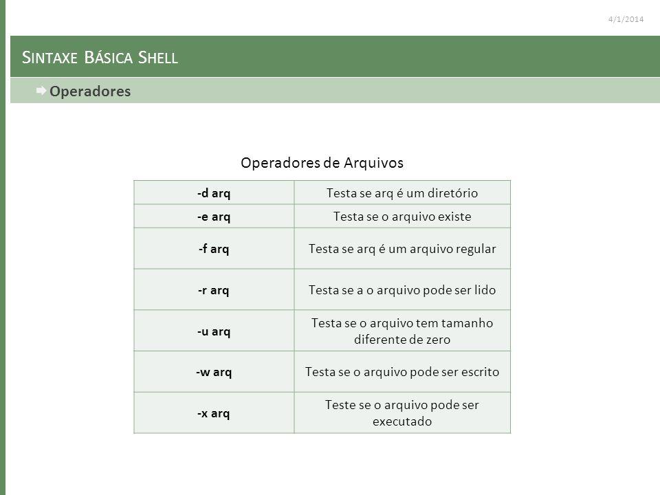 4/1/2014 S INTAXE B ÁSICA S HELL Operadores -d arqTesta se arq é um diretório -e arqTesta se o arquivo existe -f arqTesta se arq é um arquivo regular
