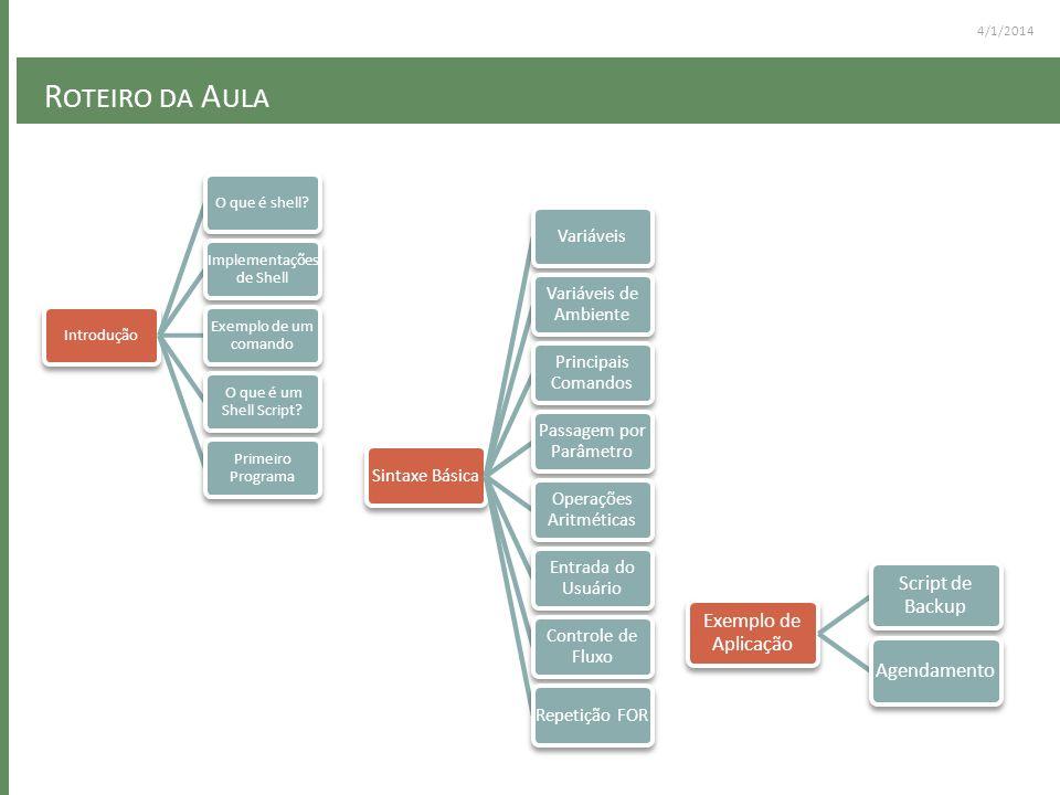 R OTEIRO DA A ULA 4/1/2014 IntroduçãoO que é shell? Implementações de Shell Exemplo de um comando O que é um Shell Script? Primeiro Programa Sintaxe B