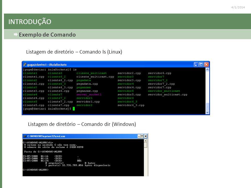 4/1/2014 INTRODUÇÃO Exemplo de Comando Listagem de diretório – Comando ls (Linux) Listagem de diretório – Comando dir (Windows)