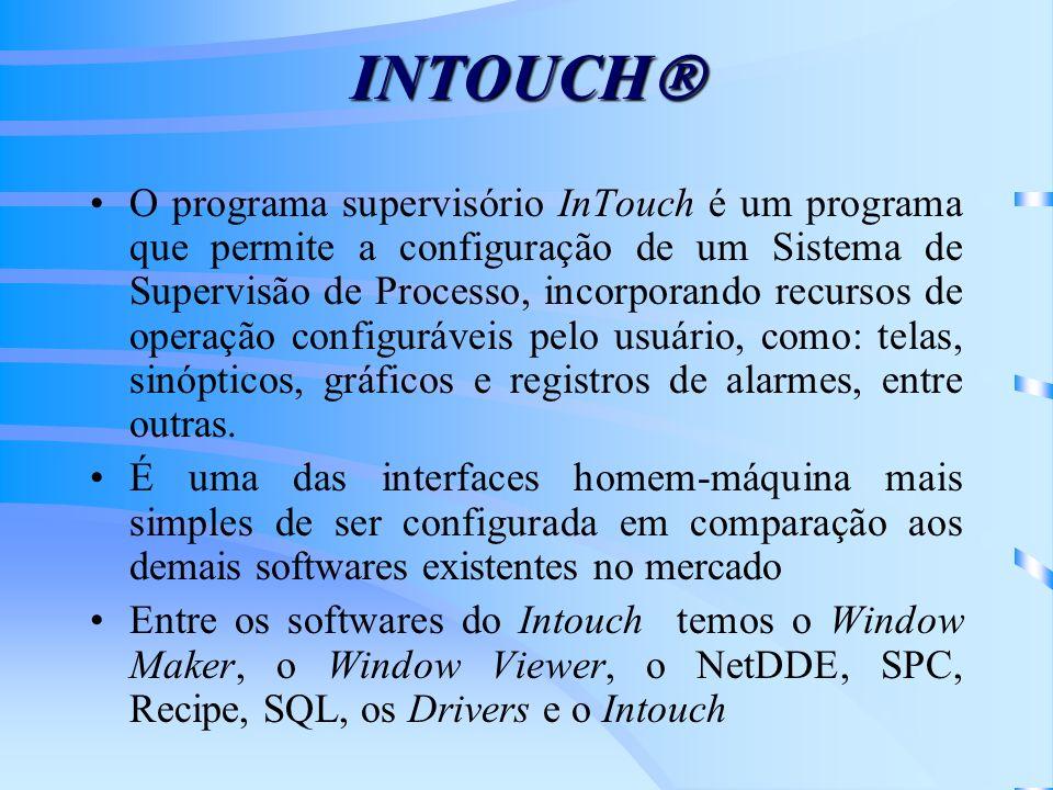 INTOUCH INTOUCH O programa supervisório InTouch é um programa que permite a configuração de um Sistema de Supervisão de Processo, incorporando recurso