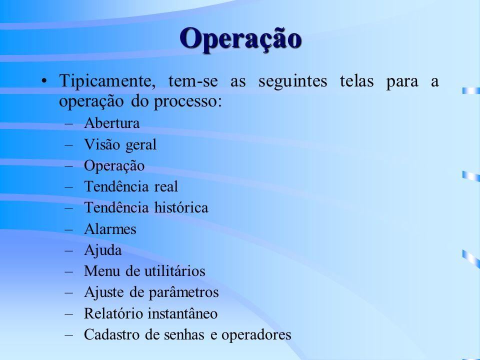 Operação Tipicamente, tem-se as seguintes telas para a operação do processo: – Abertura – Visão geral – Operação – Tendência real – Tendência históric