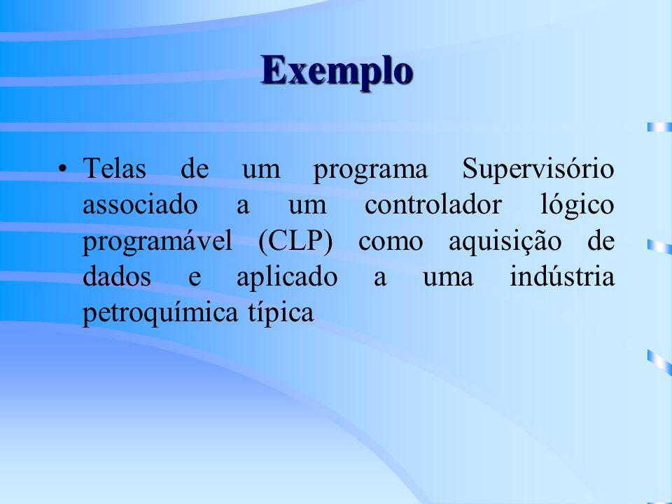Exemplo Telas de um programa Supervisório associado a um controlador lógico programável (CLP) como aquisição de dados e aplicado a uma indústria petro