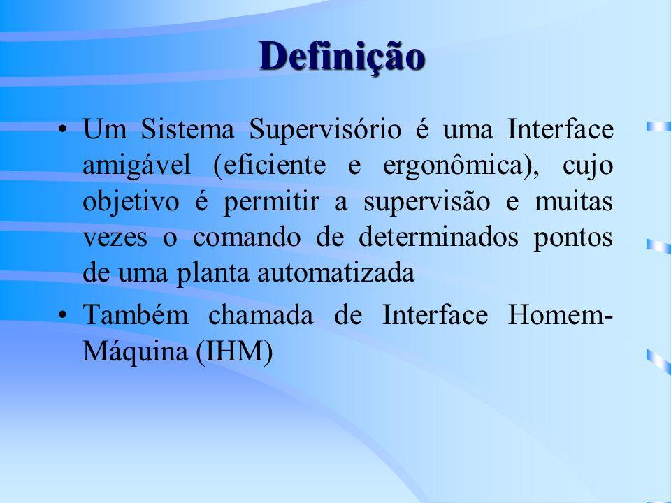 Definição Um Sistema Supervisório é uma Interface amigável (eficiente e ergonômica), cujo objetivo é permitir a supervisão e muitas vezes o comando de