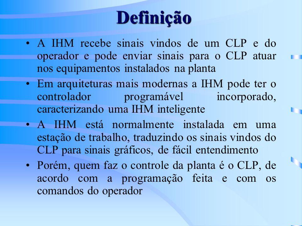 A IHM recebe sinais vindos de um CLP e do operador e pode enviar sinais para o CLP atuar nos equipamentos instalados na planta Em arquiteturas mais mo