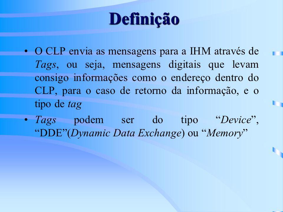O CLP envia as mensagens para a IHM através de Tags, ou seja, mensagens digitais que levam consigo informações como o endereço dentro do CLP, para o c