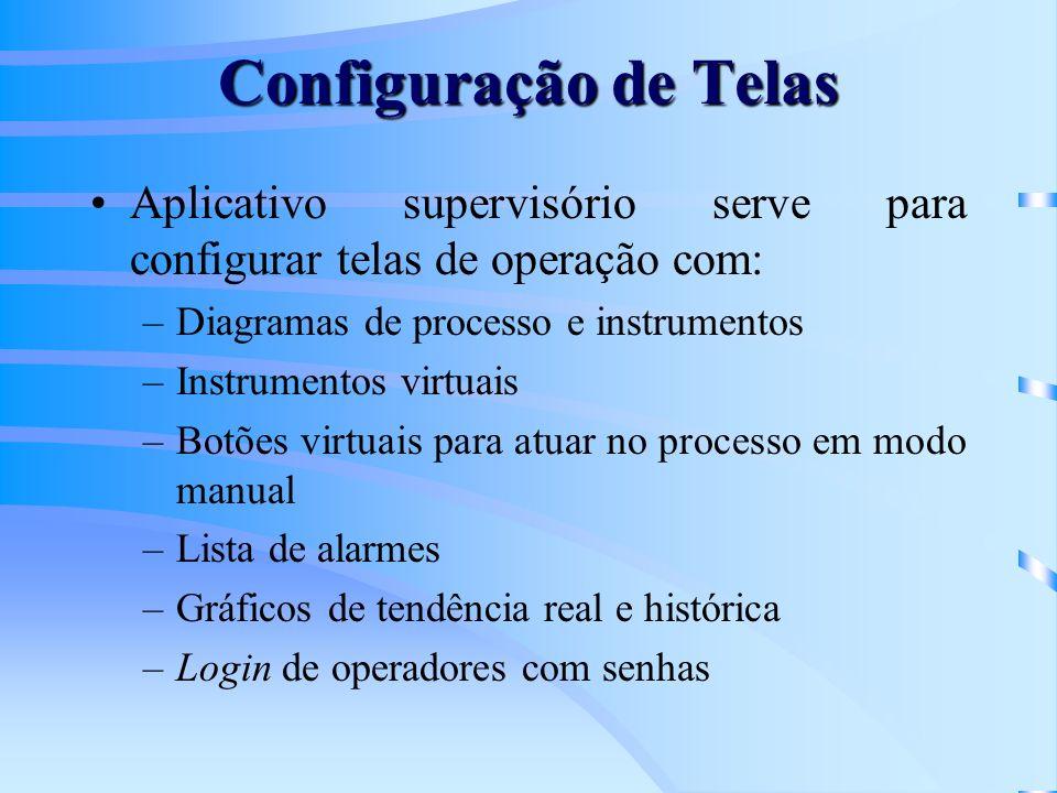 Configuração de Telas Aplicativo supervisório serve para configurar telas de operação com: –Diagramas de processo e instrumentos –Instrumentos virtuai