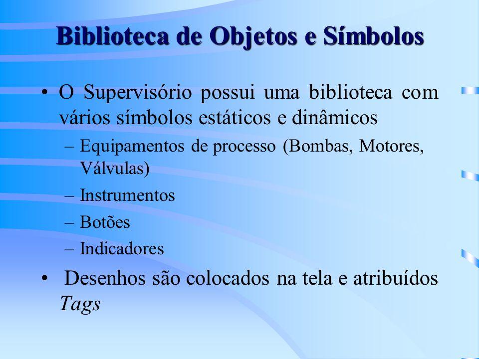 Biblioteca de Objetos e Símbolos O Supervisório possui uma biblioteca com vários símbolos estáticos e dinâmicos –Equipamentos de processo (Bombas, Mot