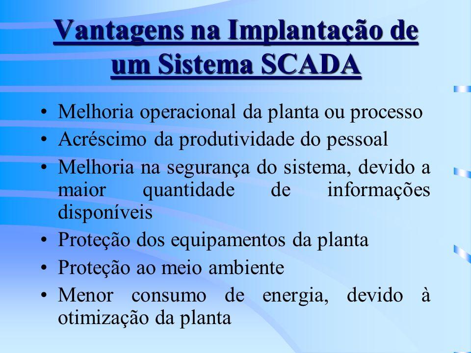 Vantagens na Implantação de um Sistema SCADA Melhoria operacional da planta ou processo Acréscimo da produtividade do pessoal Melhoria na segurança do
