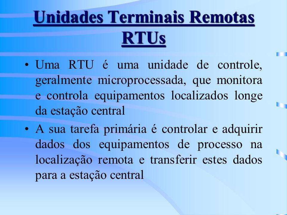Unidades Terminais Remotas RTUs Uma RTU é uma unidade de controle, geralmente microprocessada, que monitora e controla equipamentos localizados longe