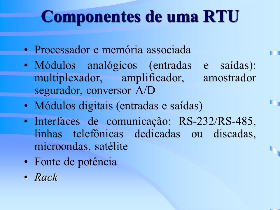 Componentes de uma RTU Processador e memória associada Módulos analógicos (entradas e saídas): multiplexador, amplificador, amostrador segurador, conv