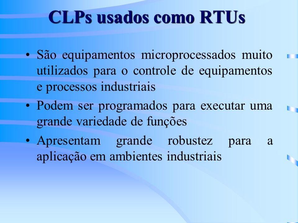 CLPs usados como RTUs São equipamentos microprocessados muito utilizados para o controle de equipamentos e processos industriais Podem ser programados