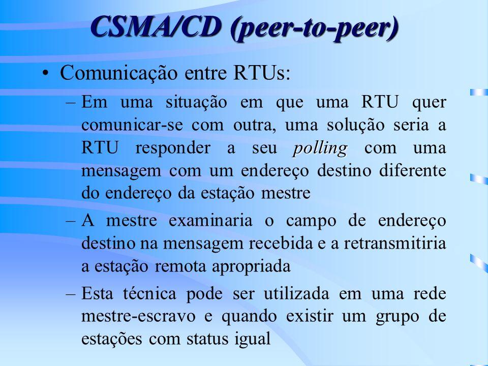 CSMA/CD (peer-to-peer) Comunicação entre RTUs: polling –Em uma situação em que uma RTU quer comunicar-se com outra, uma solução seria a RTU responder