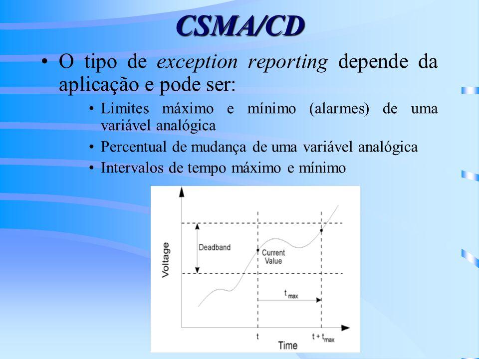 CSMA/CD O tipo de exception reporting depende da aplicação e pode ser: Limites máximo e mínimo (alarmes) de uma variável analógica Percentual de mudan