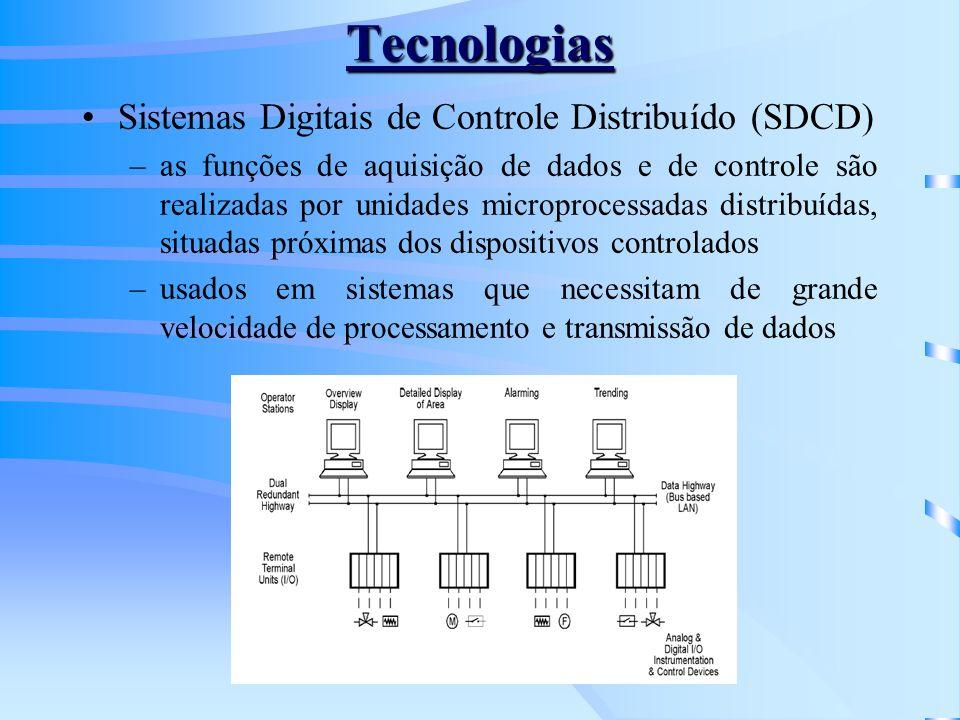 Tecnologias Sistemas Digitais de Controle Distribuído (SDCD) –as funções de aquisição de dados e de controle são realizadas por unidades microprocessa