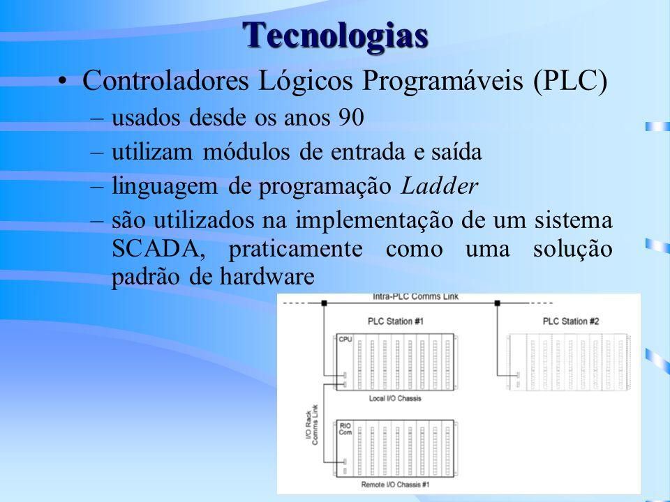 Tecnologias Controladores Lógicos Programáveis (PLC) –usados desde os anos 90 –utilizam módulos de entrada e saída –linguagem de programação Ladder –s