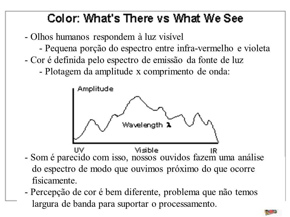- Olhos humanos respondem à luz visível - Pequena porção do espectro entre infra-vermelho e violeta - Cor é definida pelo espectro de emissão da fonte