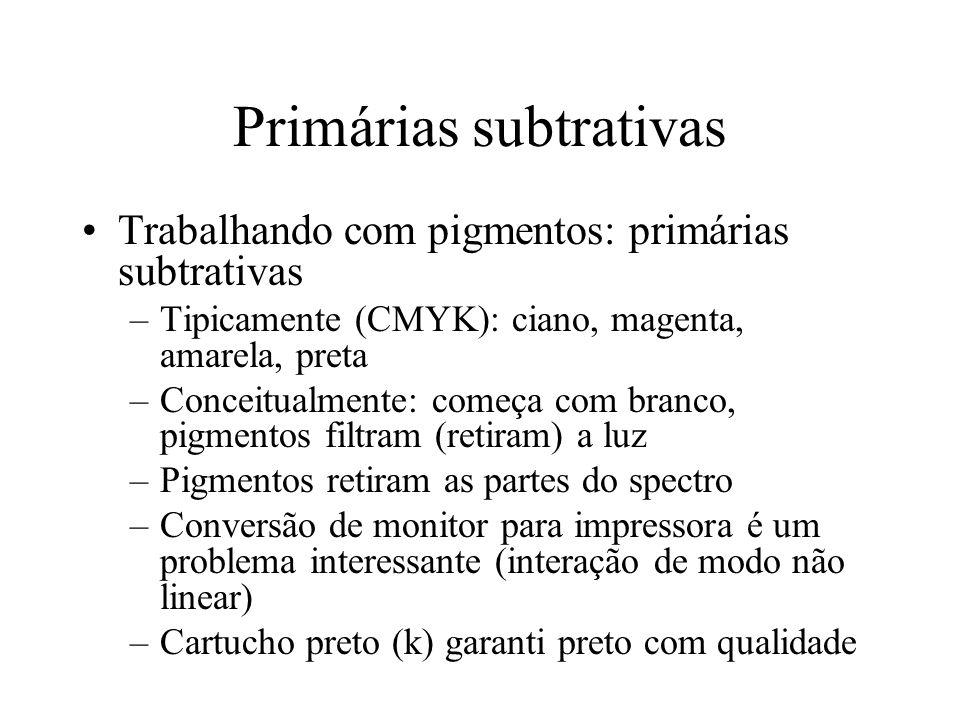 Primárias subtrativas Trabalhando com pigmentos: primárias subtrativas –Tipicamente (CMYK): ciano, magenta, amarela, preta –Conceitualmente: começa co