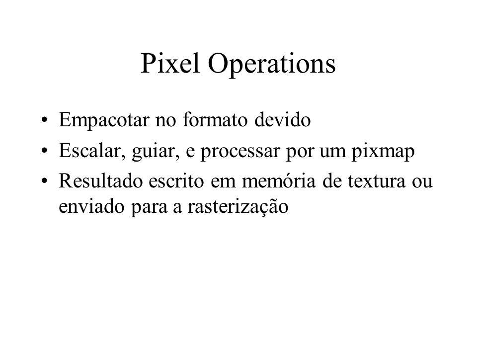 Pixel Operations Empacotar no formato devido Escalar, guiar, e processar por um pixmap Resultado escrito em memória de textura ou enviado para a raste