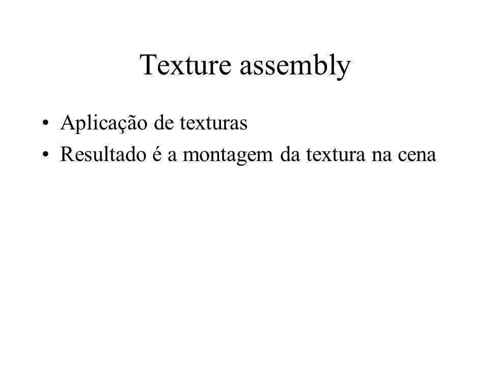 Texture assembly Aplicação de texturas Resultado é a montagem da textura na cena