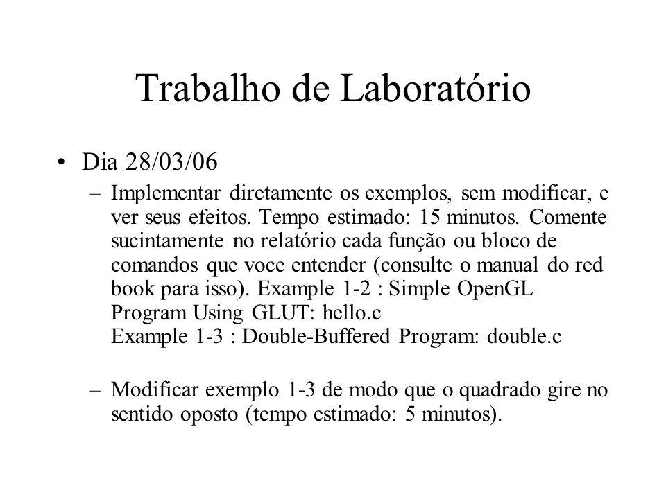 Trabalho de Laboratório Dia 28/03/06 –Implementar diretamente os exemplos, sem modificar, e ver seus efeitos.