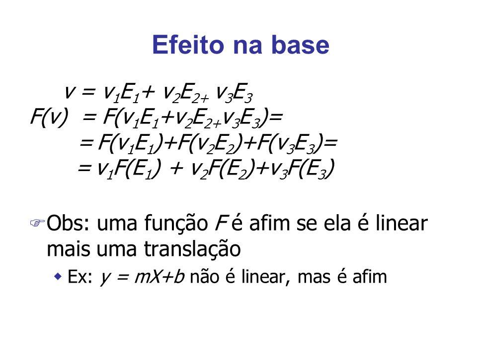 Efeito na base v = v 1 E 1 + v 2 E 2+ v 3 E 3 F(v) = F(v 1 E 1 +v 2 E 2+ v 3 E 3 )= = F(v 1 E 1 )+F(v 2 E 2 )+F(v 3 E 3 )= = v 1 F(E 1 ) + v 2 F(E 2 )