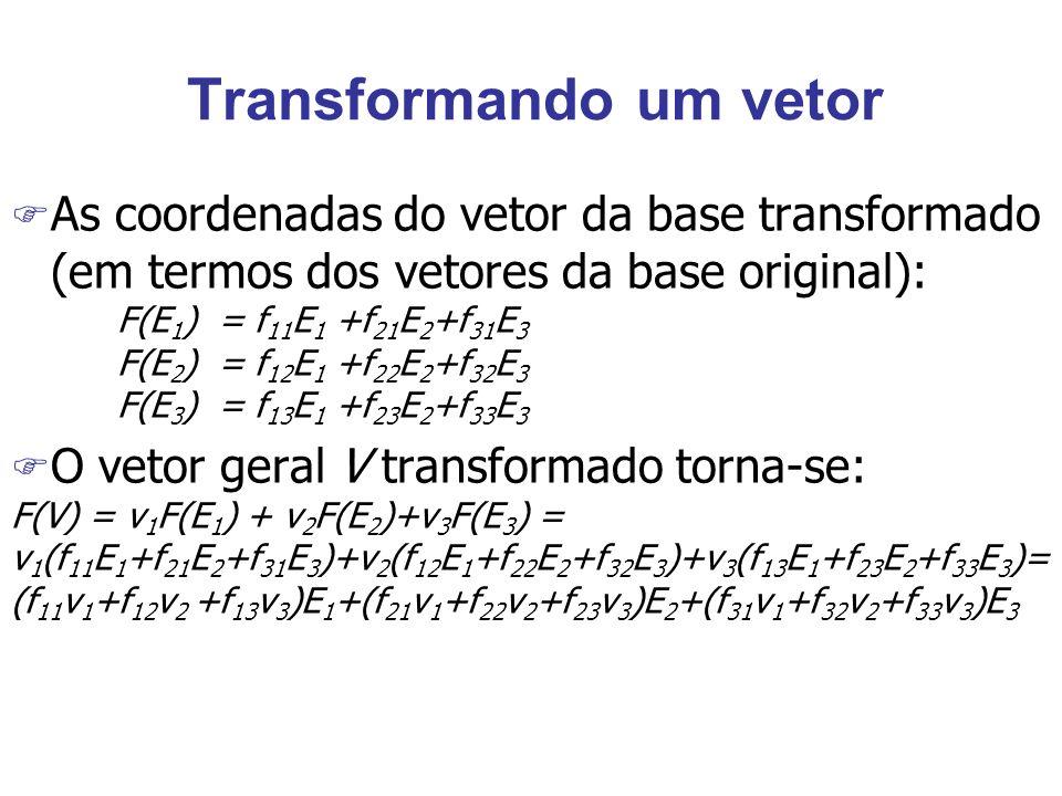 Transformando um vetor F As coordenadas do vetor da base transformado (em termos dos vetores da base original): F(E 1 ) = f 11 E 1 +f 21 E 2 +f 31 E 3