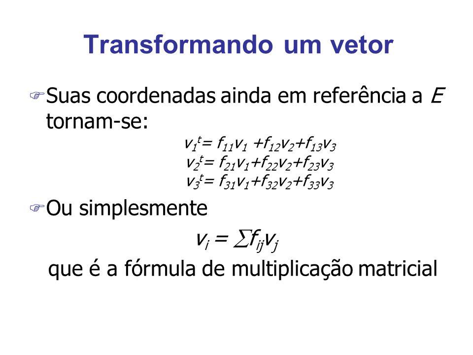 Transformando um vetor F Suas coordenadas ainda em referência a E tornam-se: v 1 t = f 11 v 1 +f 12 v 2 +f 13 v 3 v 2 t = f 21 v 1 +f 22 v 2 +f 23 v 3