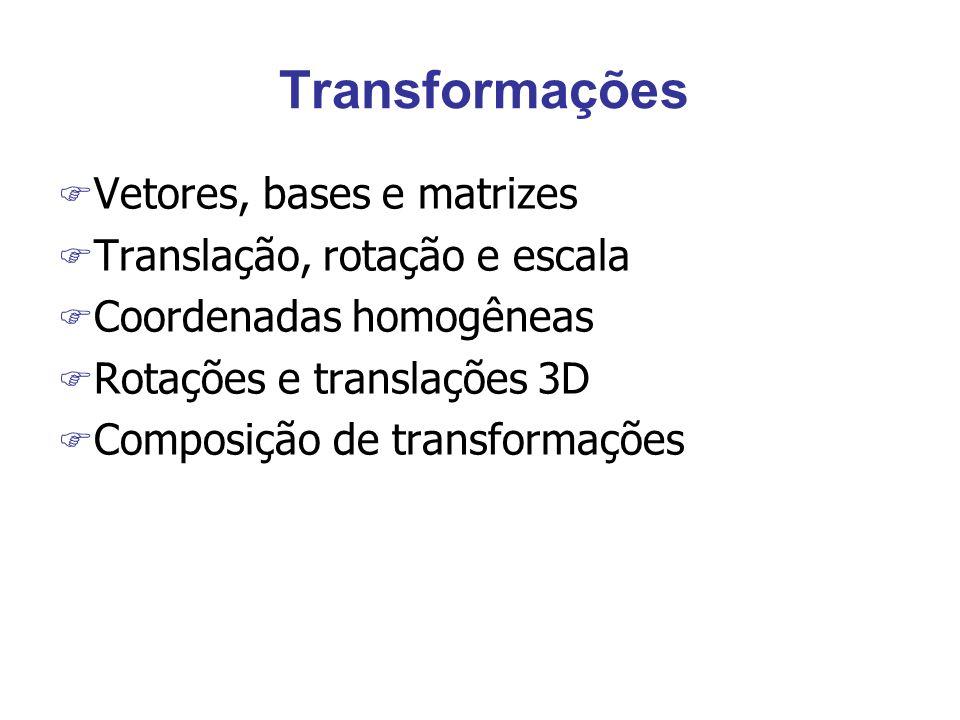Uso de transformações F Construir modelos complexos a partir de componentes simples F Transformar coordenadas de câmera em mundo, objeto e imagem e vice-versa F Analisar efeitos de transformações rígidas e não rígidas em objetos xoxo zozo yoyo ycyc xcxc zczc xwxw zwzw ywyw y im x im