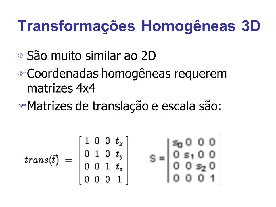 Transformações Homogêneas 3D F São muito similar ao 2D F Coordenadas homogêneas requerem matrizes 4x4 F Matrizes de translação e escala são: