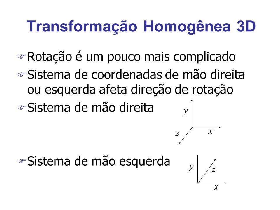 Transformação Homogênea 3D F Rotação é um pouco mais complicado F Sistema de coordenadas de mão direita ou esquerda afeta direção de rotação F Sistema