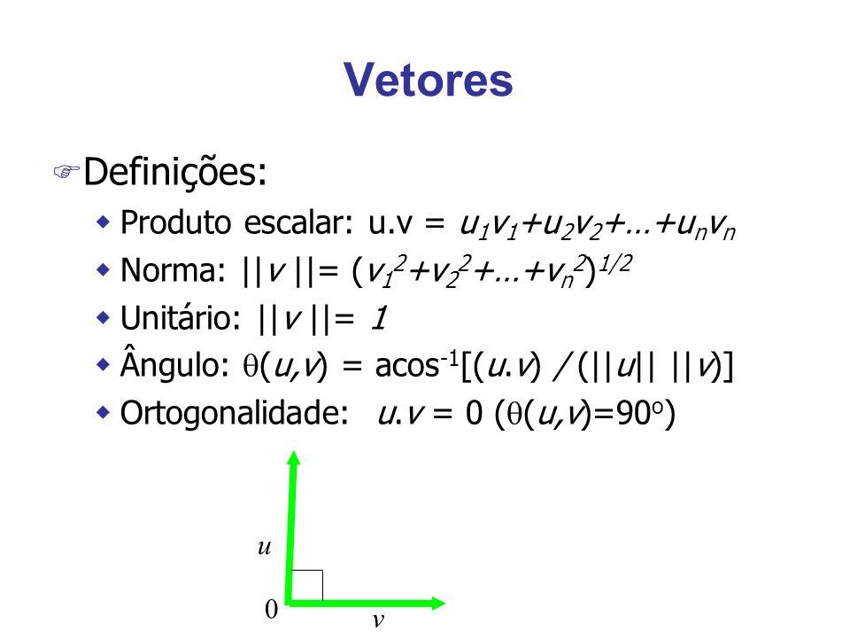 Vetores F Definições: wProduto escalar: u.v = u 1 v 1 +u 2 v 2 +…+u n v n wNorma: ||v ||= (v 1 2 +v 2 2 +…+v n 2 ) 1/2 wUnitário: ||v ||= 1 wÂngulo: (