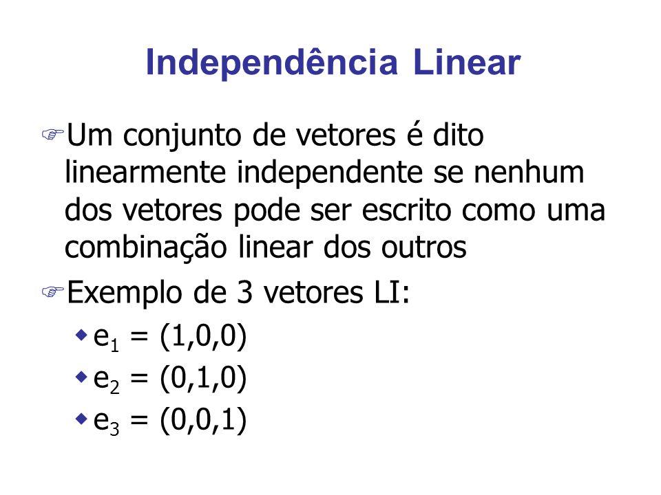 Independência Linear F Um conjunto de vetores é dito linearmente independente se nenhum dos vetores pode ser escrito como uma combinação linear dos ou