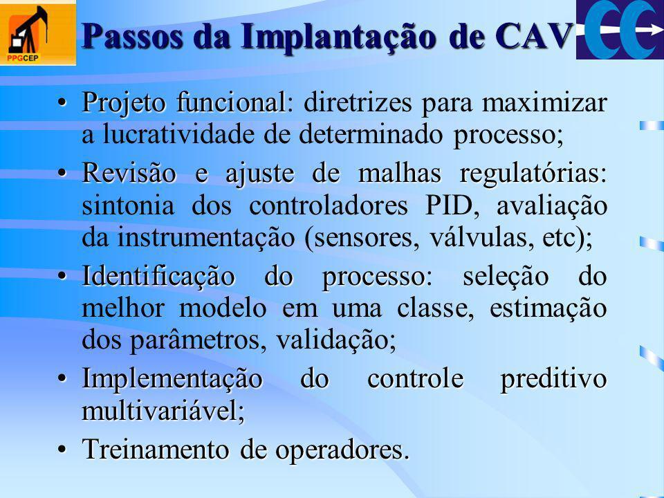 Passos da Implantação de CAV Projeto funcionalProjeto funcional: diretrizes para maximizar a lucratividade de determinado processo; Revisão e ajuste d