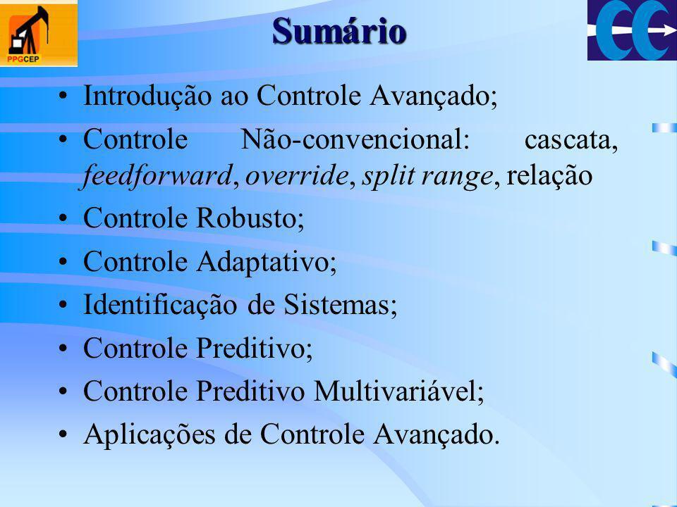 Sumário Introdução ao Controle Avançado; Controle Não-convencional: cascata, feedforward, override, split range, relação Controle Robusto; Controle Ad