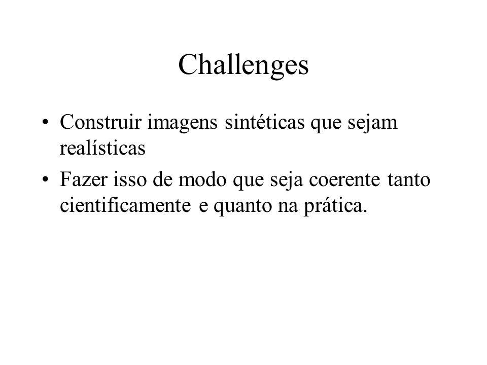 Challenges Construir imagens sintéticas que sejam realísticas Fazer isso de modo que seja coerente tanto cientificamente e quanto na prática.