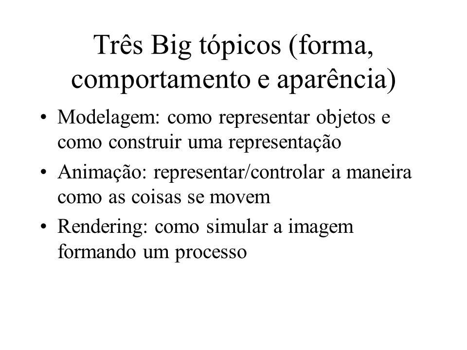 Três Big tópicos (forma, comportamento e aparência) Modelagem: como representar objetos e como construir uma representação Animação: representar/controlar a maneira como as coisas se movem Rendering: como simular a imagem formando um processo
