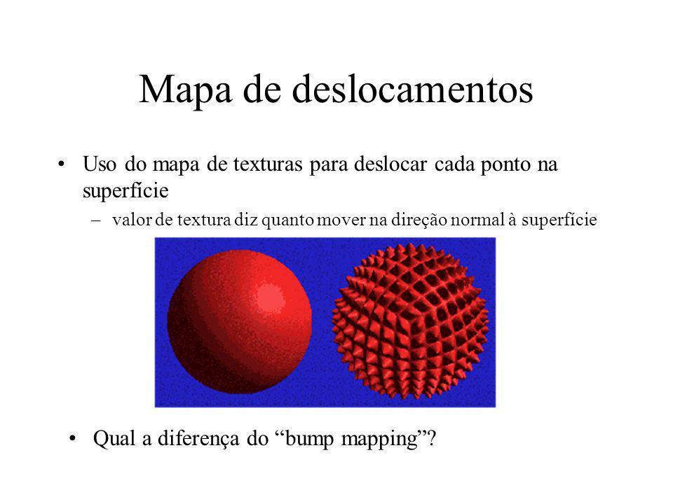 Mapa de deslocamentos Uso do mapa de texturas para deslocar cada ponto na superfície –valor de textura diz quanto mover na direção normal à superfície