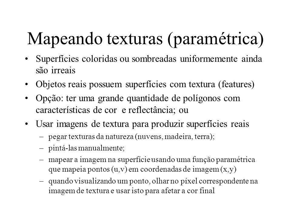 Inicializa parâmetros de textura void init(void) { glClearColor (0.0, 0.0, 0.0, 0.0); glShadeModel(GL_FLAT); glEnable(GL_DEPTH_TEST); makeCheckImage(); glPixelStorei(GL_UNPACK_ALIGNMENT, 1); glGenTextures(1, &texName); glBindTexture(GL_TEXTURE_2D, texName); glTexParameteri(GL_TEXTURE_2D, GL_TEXTURE_WRAP_S, GL_REPEAT); glTexParameteri(GL_TEXTURE_2D, GL_TEXTURE_WRAP_T, GL_REPEAT); glTexParameteri(GL_TEXTURE_2D, GL_TEXTURE_MAG_FILTER, GL_NEAREST); glTexParameteri(GL_TEXTURE_2D, GL_TEXTURE_MIN_FILTER, GL_NEAREST); glTexImage2D(GL_TEXTURE_2D, 0, GL_RGBA, checkImageWidth, checkImageHeight, 0, GL_RGBA, GL_UNSIGNED_BYTE, checkImage); }