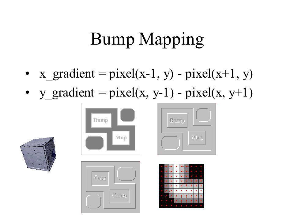Bump Mapping x_gradient = pixel(x-1, y) - pixel(x+1, y) y_gradient = pixel(x, y-1) - pixel(x, y+1)