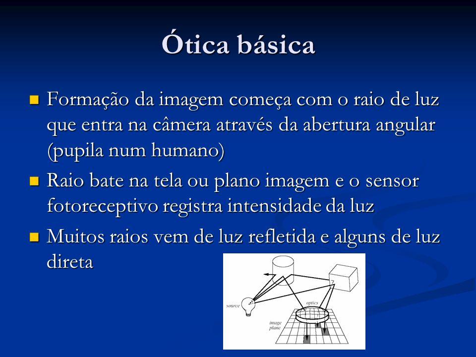 Formação da imagem começa com o raio de luz que entra na câmera através da abertura angular (pupila num humano) Formação da imagem começa com o raio de luz que entra na câmera através da abertura angular (pupila num humano) Raio bate na tela ou plano imagem e o sensor fotoreceptivo registra intensidade da luz Raio bate na tela ou plano imagem e o sensor fotoreceptivo registra intensidade da luz Muitos raios vem de luz refletida e alguns de luz direta Muitos raios vem de luz refletida e alguns de luz direta