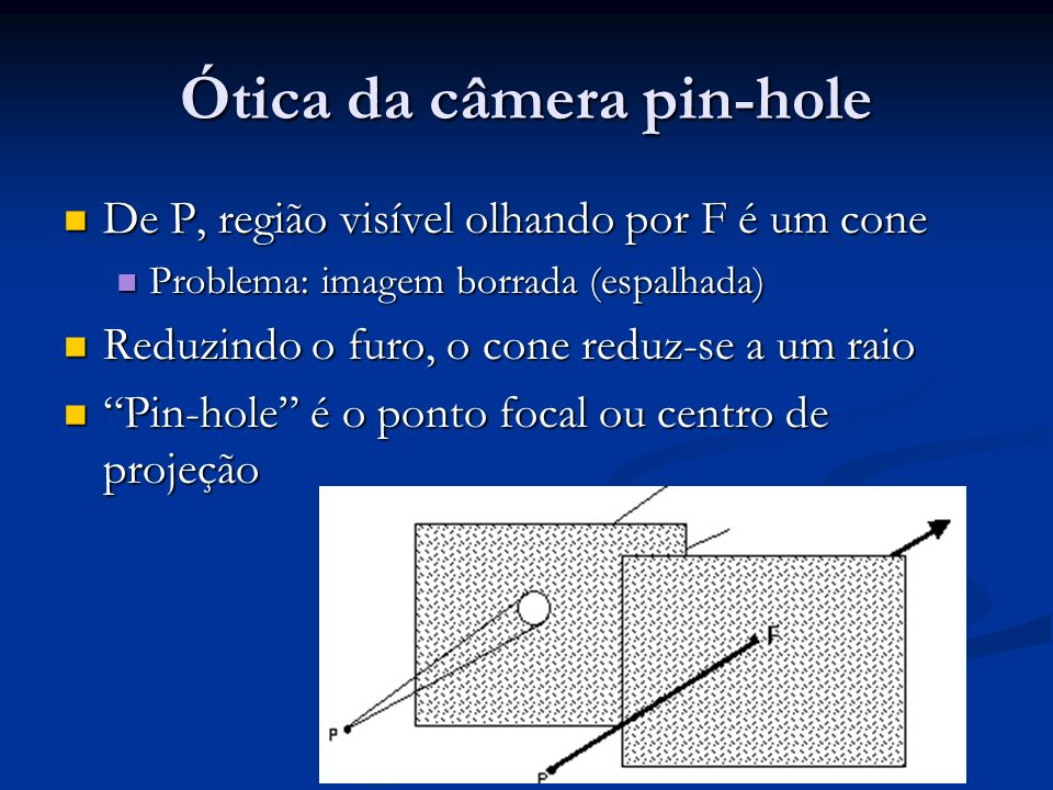 Ótica da câmera pin-hole De P, região visível olhando por F é um cone De P, região visível olhando por F é um cone Problema: imagem borrada (espalhada) Problema: imagem borrada (espalhada) Reduzindo o furo, o cone reduz-se a um raio Reduzindo o furo, o cone reduz-se a um raio Pin-hole é o ponto focal ou centro de projeção Pin-hole é o ponto focal ou centro de projeção