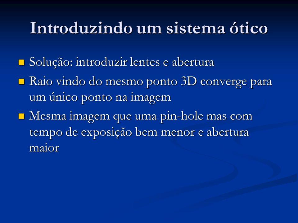 Introduzindo um sistema ótico Solução: introduzir lentes e abertura Solução: introduzir lentes e abertura Raio vindo do mesmo ponto 3D converge para u