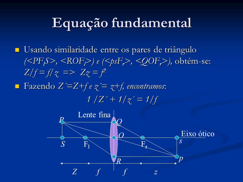 Equação fundamental Usando similaridade entre os pares de triângulo (, ) e (, ), obtém-se: Z/f = f/z => Zz = f 2 Usando similaridade entre os pares de triângulo (, ) e (, ), obtém-se: Z/f = f/z => Zz = f 2 Fazendo Z´=Z+f e z´= z+f, encontramos: Fazendo Z´=Z+f e z´= z+f, encontramos: 1 /Z´ + 1/z´ = 1/f FlFl FrFr Lente fina Eixo ótico ffZz P Q R O S p s