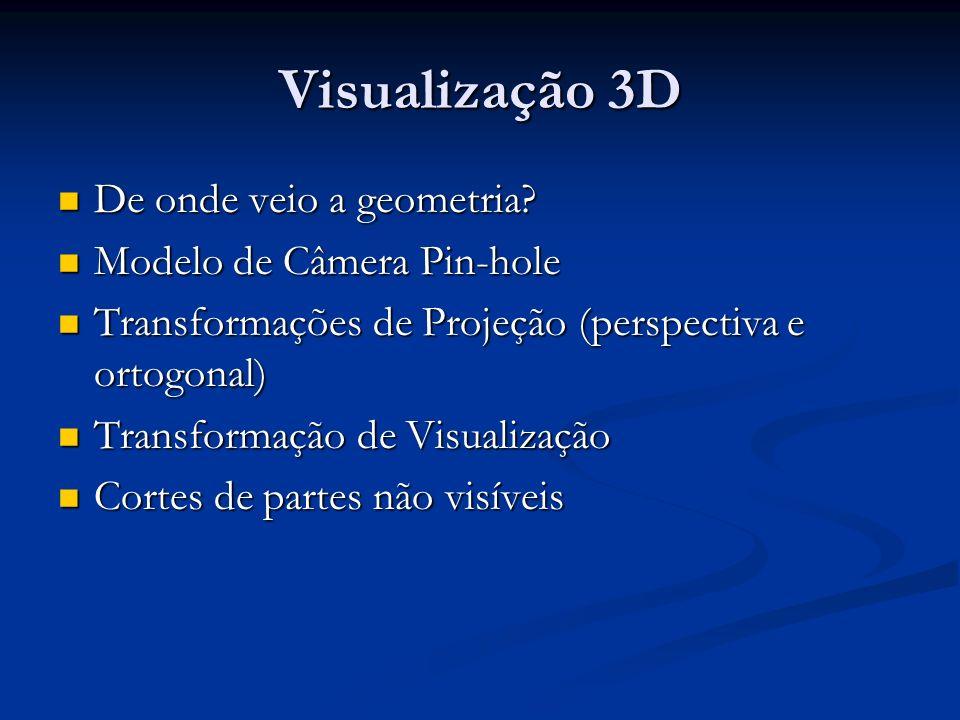 Visualização 3D De onde veio a geometria? De onde veio a geometria? Modelo de Câmera Pin-hole Modelo de Câmera Pin-hole Transformações de Projeção (pe