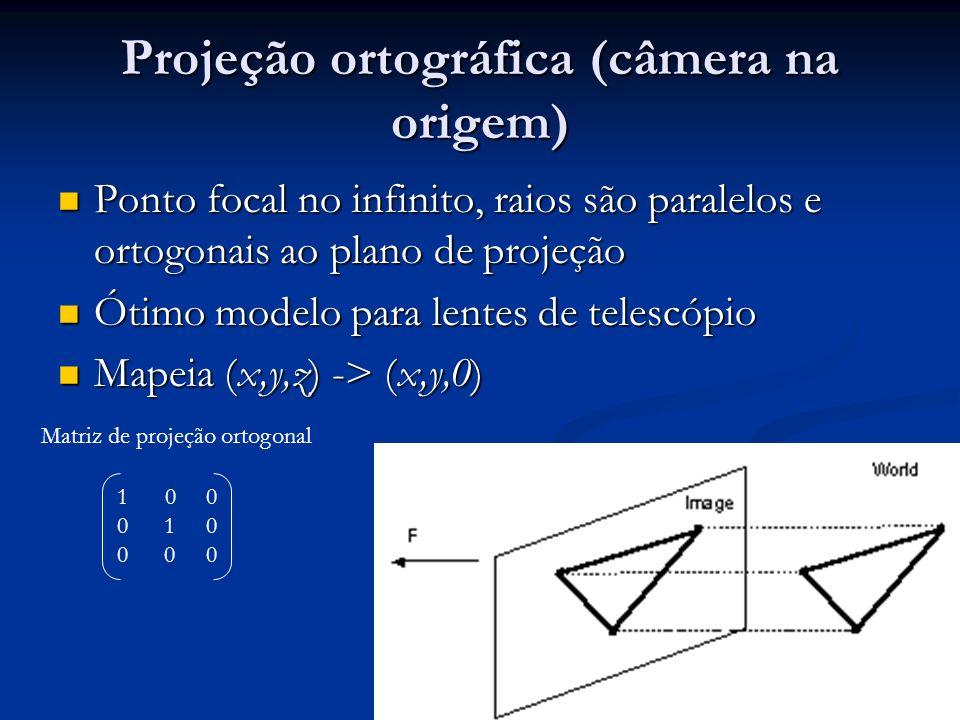 Projeção ortográfica (câmera na origem) Ponto focal no infinito, raios são paralelos e ortogonais ao plano de projeção Ponto focal no infinito, raios são paralelos e ortogonais ao plano de projeção Ótimo modelo para lentes de telescópio Ótimo modelo para lentes de telescópio Mapeia (x,y,z) -> (x,y,0) Mapeia (x,y,z) -> (x,y,0) 10 0 0 1 0 0 0 0 Matriz de projeção ortogonal