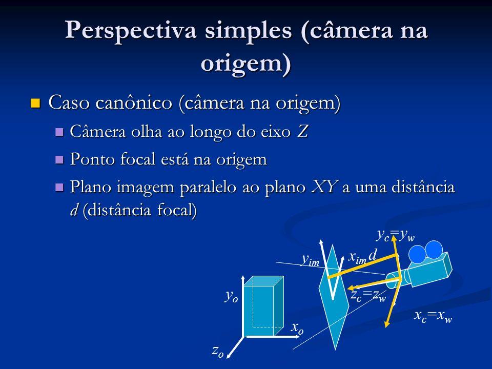 Perspectiva simples (câmera na origem) Caso canônico (câmera na origem) Caso canônico (câmera na origem) Câmera olha ao longo do eixo Z Câmera olha ao longo do eixo Z Ponto focal está na origem Ponto focal está na origem Plano imagem paralelo ao plano XY a uma distância d (distância focal) Plano imagem paralelo ao plano XY a uma distância d (distância focal) xoxo zozo yoyo x c =x w y im x im y c =y w z c =z w d