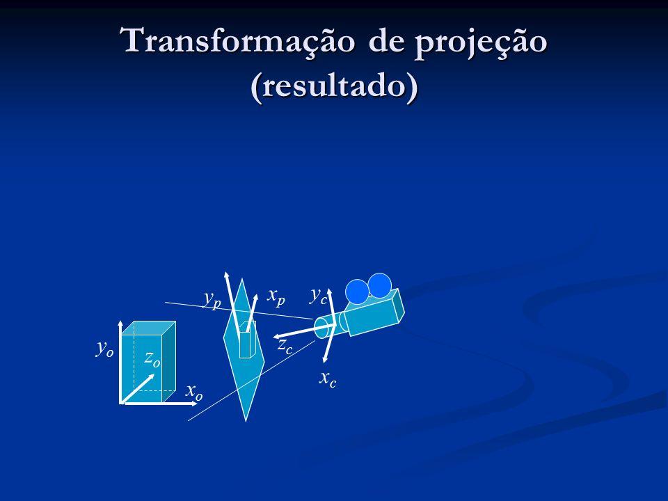 Transformação de projeção (resultado) xoxo zozo yoyo ycyc xcxc zczc ypyp xpxp