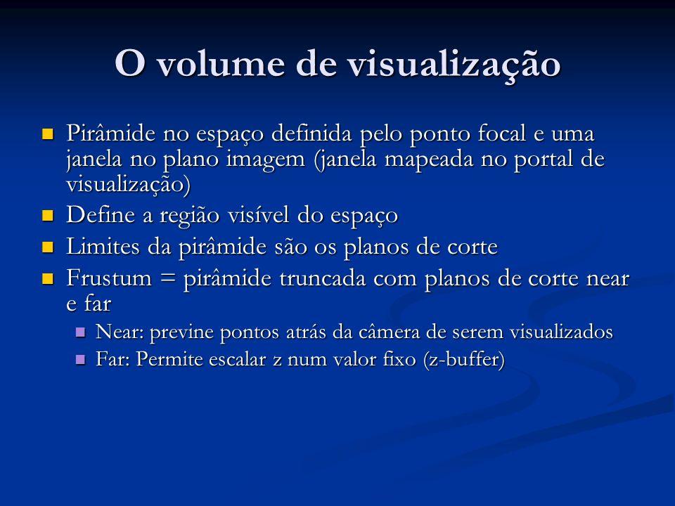 O volume de visualização Pirâmide no espaço definida pelo ponto focal e uma janela no plano imagem (janela mapeada no portal de visualização) Pirâmide