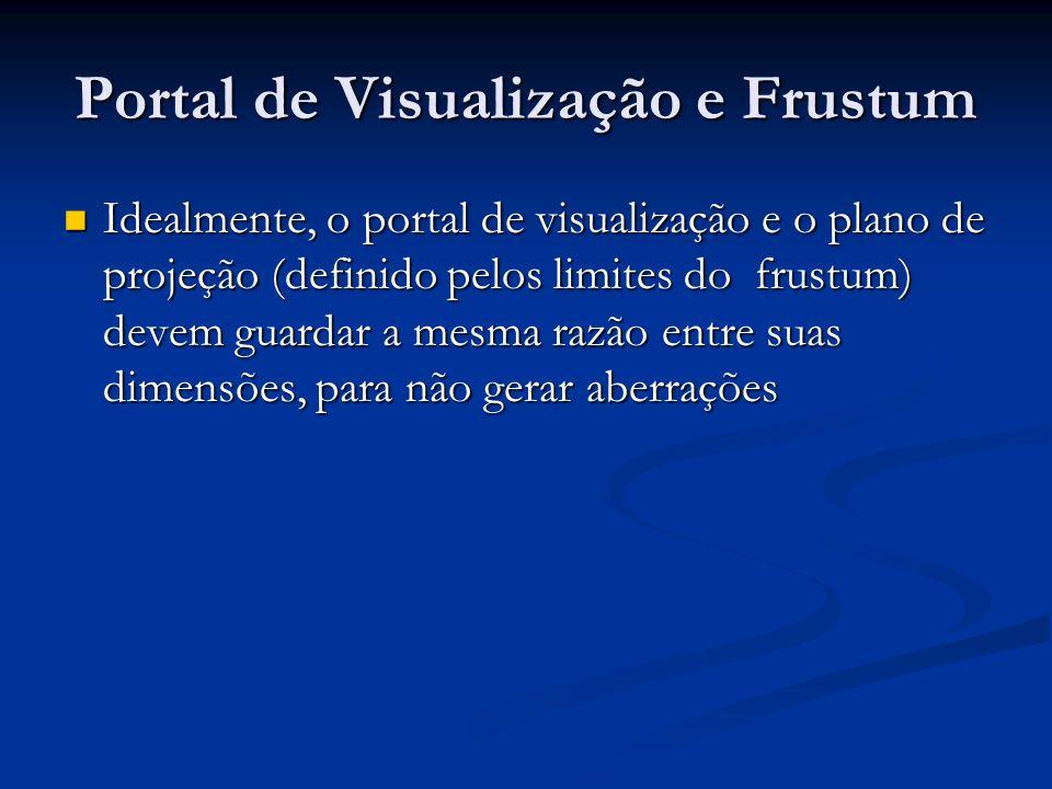 Portal de Visualização e Frustum Idealmente, o portal de visualização e o plano de projeção (definido pelos limites do frustum) devem guardar a mesma
