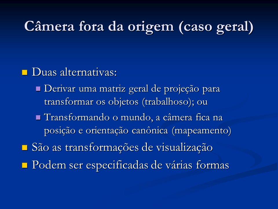 Duas alternativas: Duas alternativas: Derivar uma matriz geral de projeção para transformar os objetos (trabalhoso); ou Derivar uma matriz geral de projeção para transformar os objetos (trabalhoso); ou Transformando o mundo, a câmera fica na posição e orientação canônica (mapeamento) Transformando o mundo, a câmera fica na posição e orientação canônica (mapeamento) São as transformações de visualização São as transformações de visualização Podem ser especificadas de várias formas Podem ser especificadas de várias formas